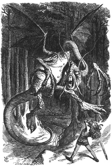Jabberwocky by English illustrator Sir John Tenniel (1820-1914)