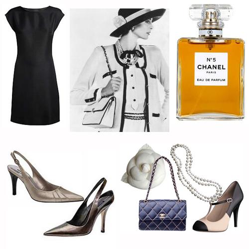pretinho, tailleur, Nº 5, sapato aberto atrás, camelha, bolsa matelassé com alça de corrente, pérolas, sapato bicolor