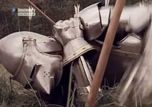 Cavaleiro francês se complica com as flechas inglesas