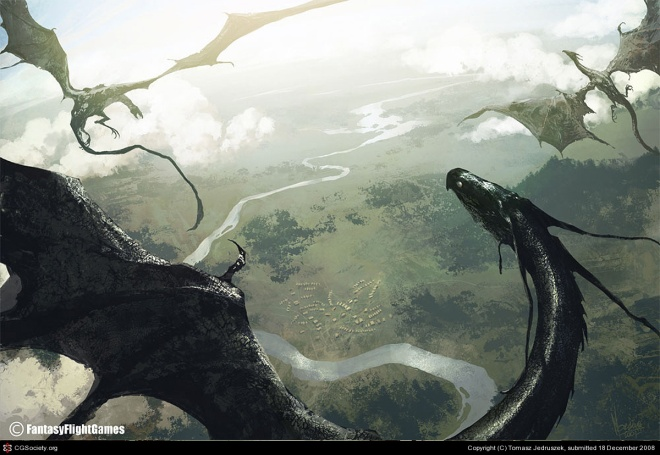 Dragons in flight – by Tomasz Jedruszek]. © Fantasy Flight Games