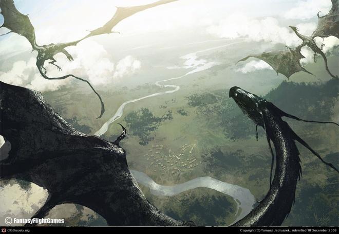 Dragons in flight – by Tomasz Jedruszek]. © Fantasy Flight Games
