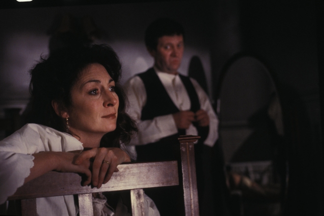 "Anjelica Huston (""Gretta Conroy,"" left) and Donal McCann (""Gabriel Conroy,"" right) star in Lionsgate Home Entertainment's THE DEAD."