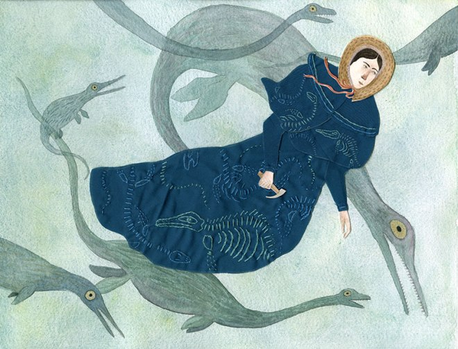 Jessica Bartram's illustration inspired by the life of Mary Anning and her most famous portrait.