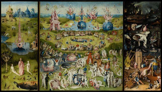 """""""O Jardim das Delícias Terrenas"""" de Hieronymus Bosch (cerca de 1450–1516) - Museo del Prado, Madrid"""