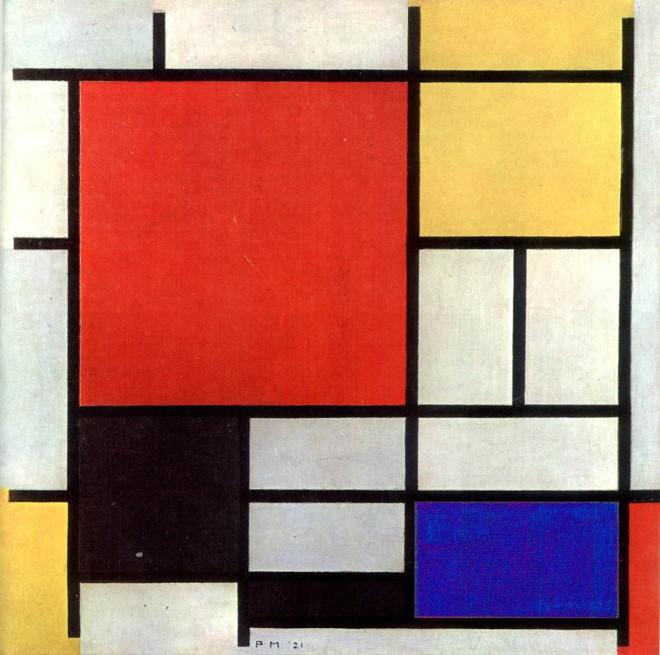 Mondrian: composição com vermelho, amarelo, azul e preto.