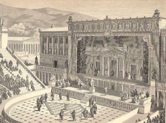 O Teatro de Dionísio em reconstituição do século XIX.