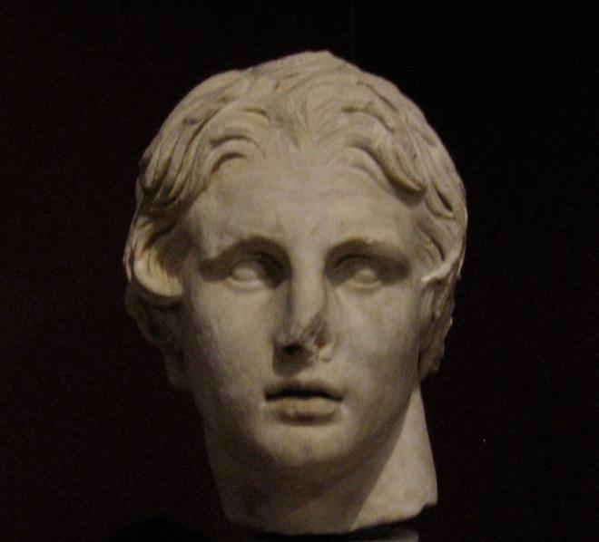 Cópia romana da cabeça de Alexandre Magno de Lisipo no Museu Arqueológico de Istambul.