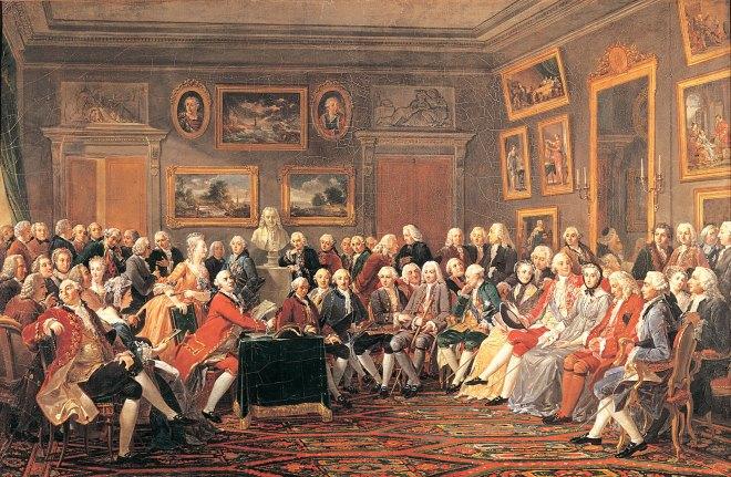 Filósofos Iluministas reunidos no salão de madame Geoffrin. Óleo sobre tela de Anicet-Charles Lemonnier, 1812. clique aqui